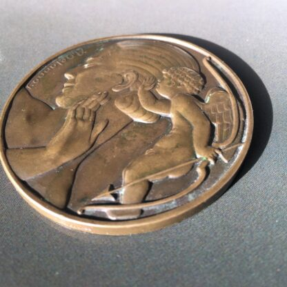Art Deco bronze medallion by Delannoy, Venus, mid 20th century -28536