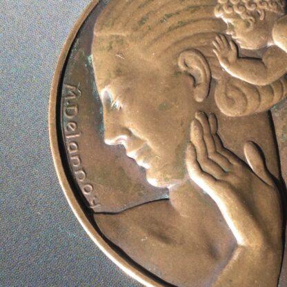 Art Deco bronze medallion by Delannoy, Venus, mid 20th century -28537