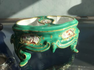 English enamel table salt, rococo form with landscape panels, c. 1770 -0