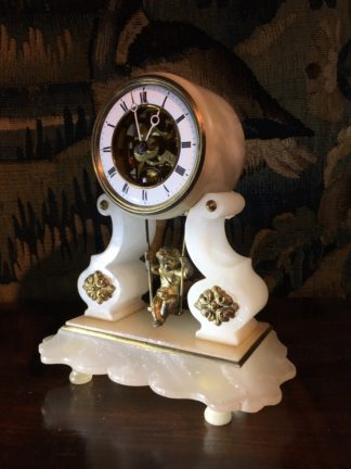 French alabaster clock, lyre shape with cherub pendulum, c. 1890 -0