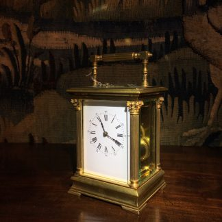 French brass Aiguilles carriage clock, classical columns, c. 1900-0