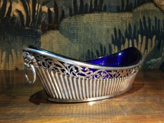 Old Sheffield Plate & Bristol Blue glass boat-shape serving dish, c. 18-0