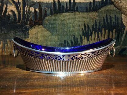 Old Sheffield Plate & Bristol Blue glass boat-shape serving dish, c. 18-28775