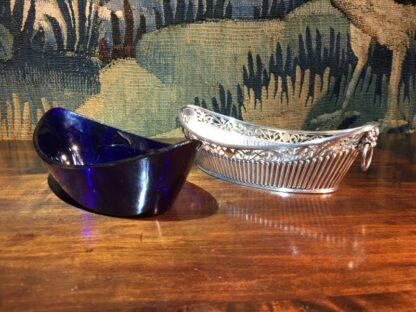 Old Sheffield Plate & Bristol Blue glass boat-shape serving dish, c. 18-28778