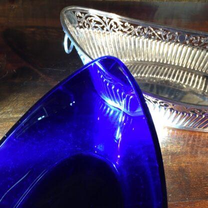 Old Sheffield Plate & Bristol Blue glass boat-shape serving dish, c. 18-28779
