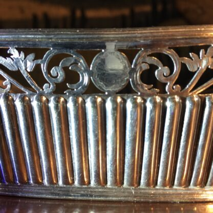 Old Sheffield Plate & Bristol Blue glass boat-shape serving dish, c. 18-28781