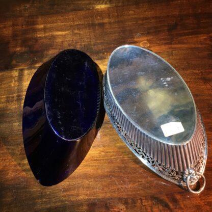Old Sheffield Plate & Bristol Blue glass boat-shape serving dish, c. 18-28785