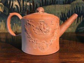 English Redware teapot with chinoiserie moulds, Circa 1775 -0