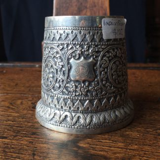 Indian silver vase, scroll embossed with initials 'OL', c. 1900 -0