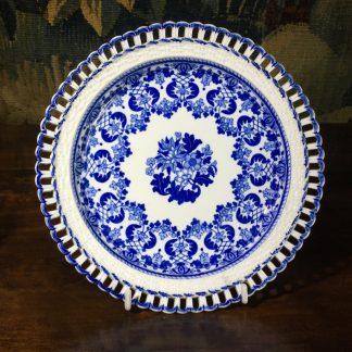 Spode basketweave rim plate, printed in blue with flowers, c. 1815-0