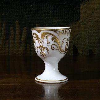 Victorian porcelain eggcup, raised gilt scrollwork, c. 1850 -0