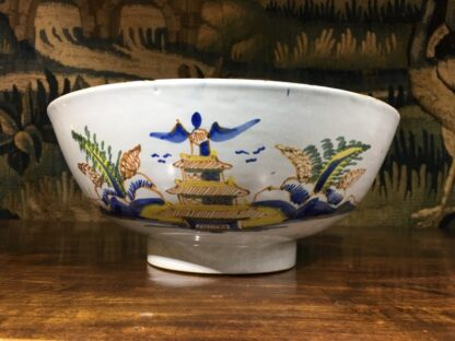 Large English delft punch bowl, polychrome Pagoda landscapes, c. 1770 -0
