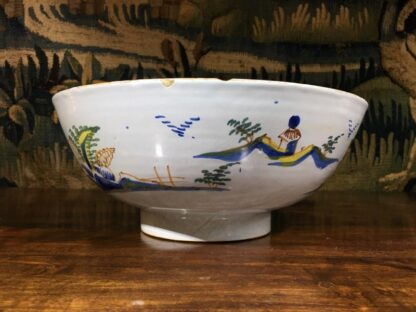 Large English delft punch bowl, polychrome Pagoda landscapes, c. 1770 -29572