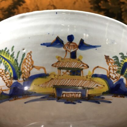 Large English delft punch bowl, polychrome Pagoda landscapes, c. 1770 -29573