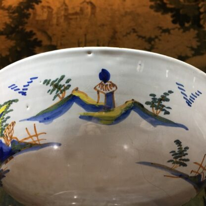 Large English delft punch bowl, polychrome Pagoda landscapes, c. 1770 -29575