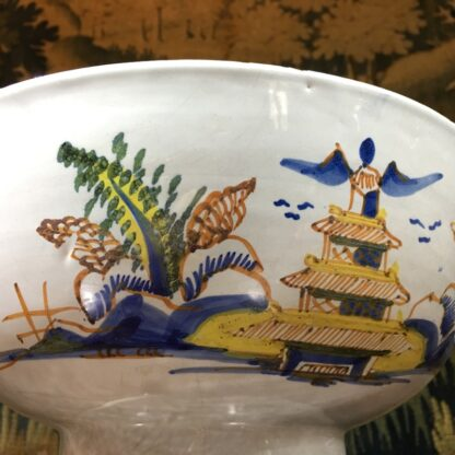 Large English delft punch bowl, polychrome Pagoda landscapes, c. 1770 -29576
