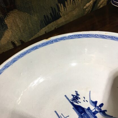 Large English delft punch bowl, polychrome Pagoda landscapes, c. 1770 -29577