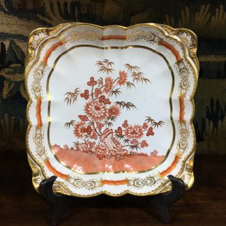 Spode square dish with red Oriental Garden bat print, gilt, c. 1814 -0