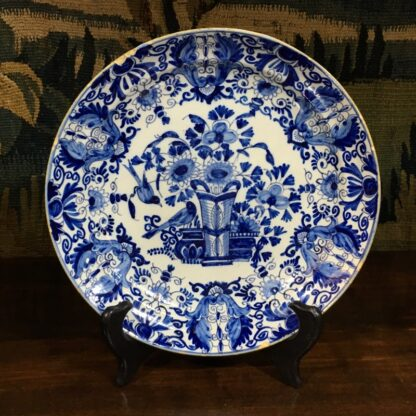Dutch Delft blue & white 'pancake' plate, flower vase & birds, c.1760 -0