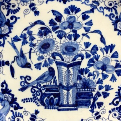 Dutch Delft blue & white 'pancake' plate, flower vase & birds, c.1760 -29499