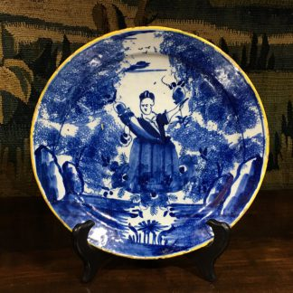 Dutch Delft blue & white 'pancake' plate, Flora, c.1760 -0