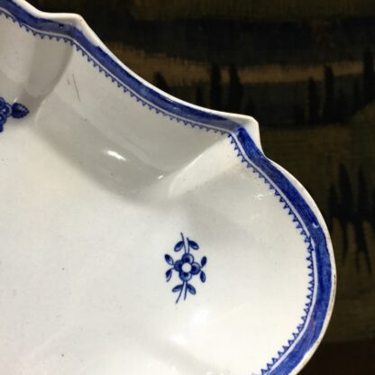 Spode oval fluted serving dish, blue and white flower sprig printed, c. 1800 -29476