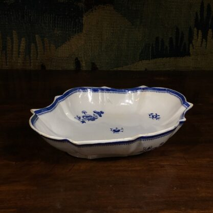 Spode oval fluted serving dish, blue and white flower sprig printed, c. 1800 -29474