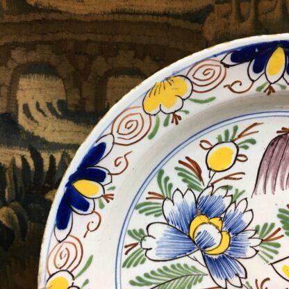 English delft plate, polychrome garden scene, c. 1750-29451
