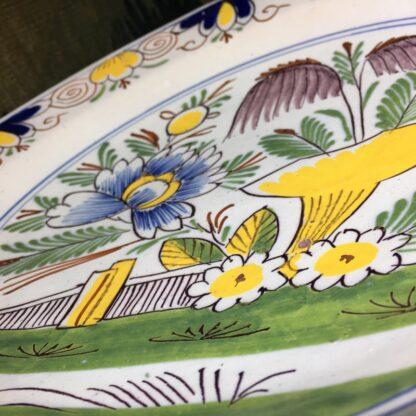 English delft plate, polychrome garden scene, c. 1750-29456
