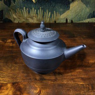 Black basalt teapot with engine turning, widow knop, c. 1800-0