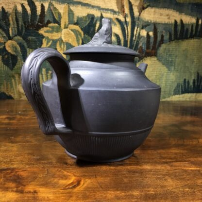 Black basalt teapot with engine turning, widow knop, c. 1800-29665