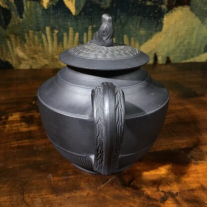 Black basalt teapot with engine turning, widow knop, c. 1800-29668