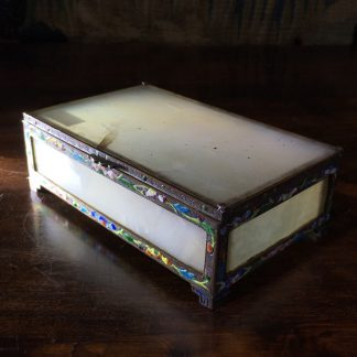 Chinese White Onyx box with silvered copper & enamel frame, c.1910-0