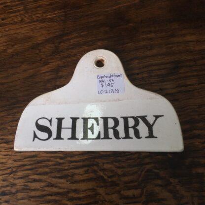 Copeland & Garrett creamware bin label, SHERRY c.1850 -0