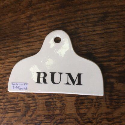Spode creamware bin label, RUM, c. 1825-0