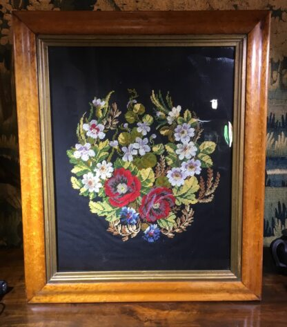Framed Victorian needle point of flowers, c. 1880 -0