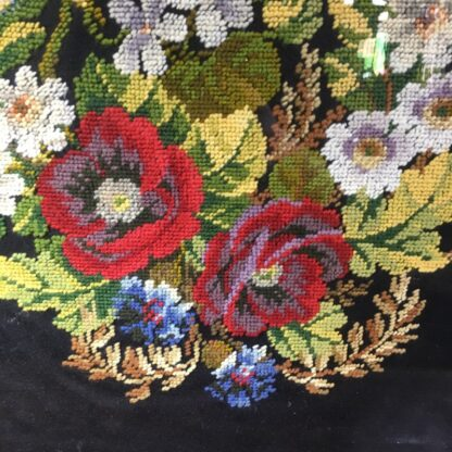 Framed Victorian needle point of flowers, c. 1880 -29616