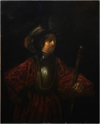 After Rembrandt, Portrait of a Man in Military Costume, oil on canvas, 19th century-0