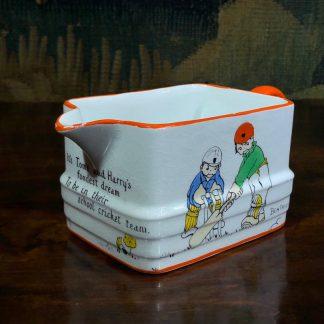 Paragon china milk jug, Beatrice Mallet series, children playing cricket, c. 1920 -0