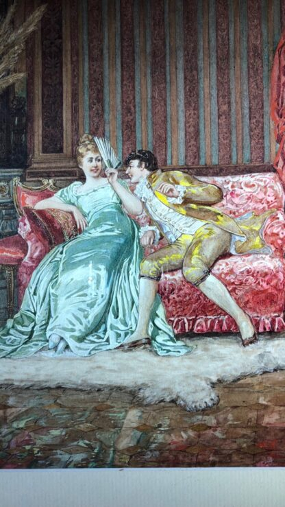 Pair of 'Belle Époque' watercolours, Romances in lush interiors, c. 1880 -30736