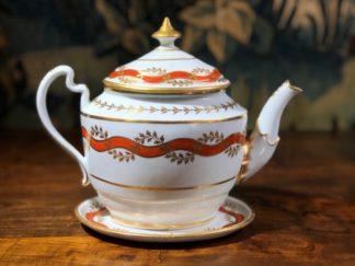 Flight & Barr Worcester teapot & stand, orange ribbon pattern, c. 1800 -0