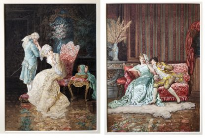 Pair of 'Belle Époque' watercolours, Romances in lush interiors, c. 1880 -0