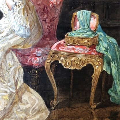Pair of 'Belle Époque' watercolours, Romances in lush interiors, c. 1880 -30741