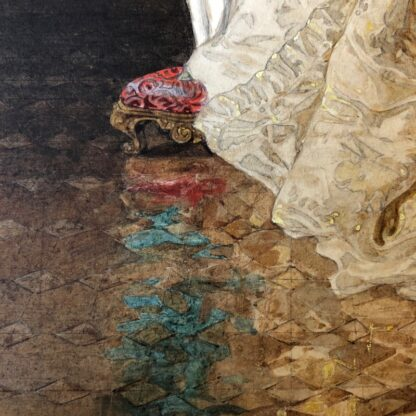 Pair of 'Belle Époque' watercolours, Romances in lush interiors, c. 1880 -30740