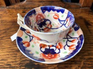 Gaudy Welsh cup &a saucer, lustre highlights, c. 1835-0