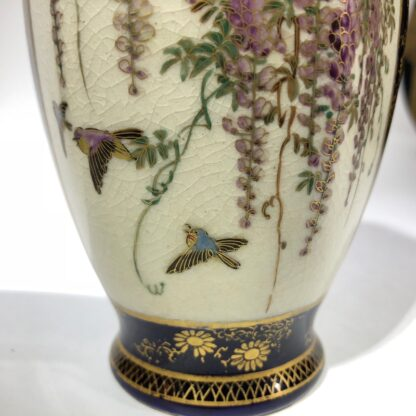 Satsuma vase, two panels, wisteria and lake scene, circa 1900 -30422