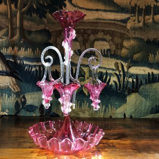 Victorian ruby glass epergne, three baskets, circa 1885 -0