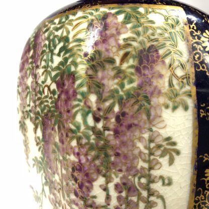 Satsuma vase, two panels, wisteria and lake scene, circa 1900 -30423