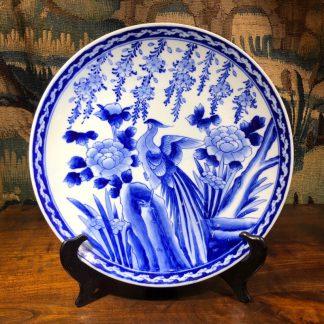 Japanese porcelain charger, blue pheasant & rock pattern, c.1900-0