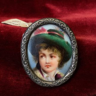 Porcelain plaque, mounted as a brooch, C. 1880 -0